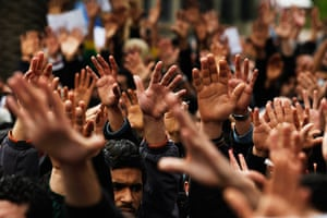Tunisia protests: Protesters gesture during a demonstration in downtown Tunis