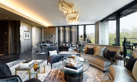 A reception room in one of the flats at One Hyde Park.