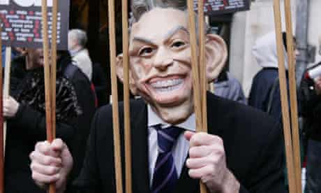 A protester in a Tony Blair mask outside the Chilcot inquiry Blair giving evidence 21 January 2011