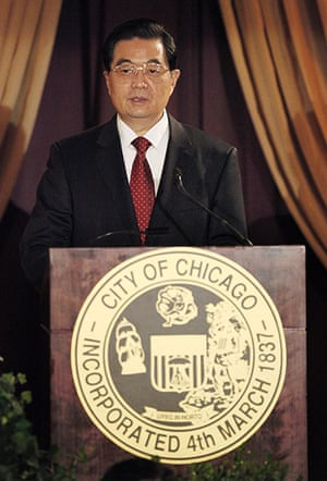 Hu Jintao: China's President Hu Jintao delivers a speech during a dinner in his honor