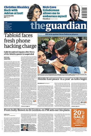 Andy Coulson: News of the World phone hacking investigation, Guardian front page 3/9/2010