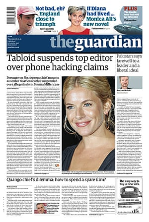 Andy Coulson: News of the World phone hacking investigation, Guardian front page 6/1/2011