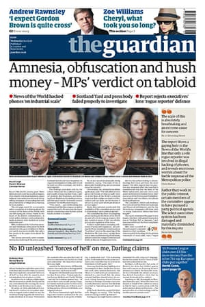 Andy Coulson: News of the World phone hacking investigation, Guardian front page 24/2/10