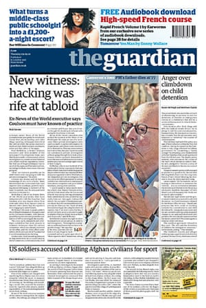 Andy Coulson: News of the World phone hacking investigation, Guardian front page 9/9/2010