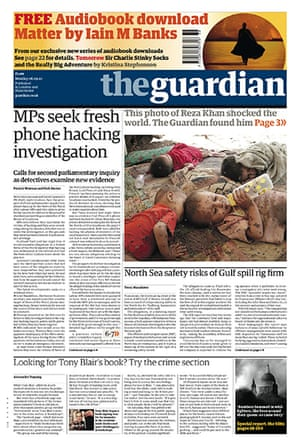 Andy Coulson: News of the World phone hacking investigation, Guardian front page 6/9/2010
