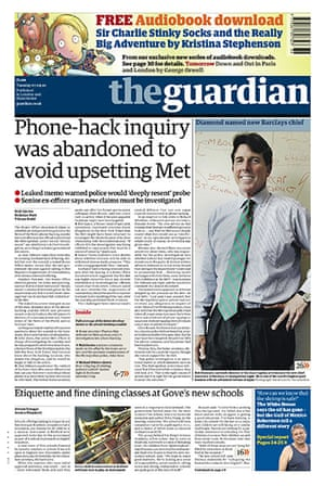 Andy Coulson: News of the World phone hacking investigation, Guardian front page 7/9/2010
