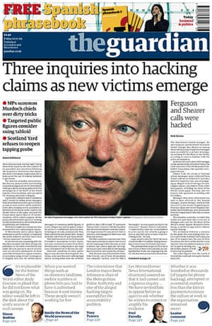 Andy Coulson: News of the World phone hacking investigation Guardian front page 10/7/2009