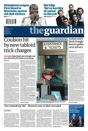 Andy Coulson: News of the World phone hacking investigation, Guardian front page 25/2/10