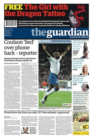Andy Coulson: News of the World phone hacking investigation, Guardian front page 4/9/2010