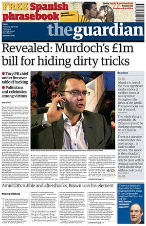 Andy Coulson: News of the World phone hacking investigation, Guardian front page 9/7/2009