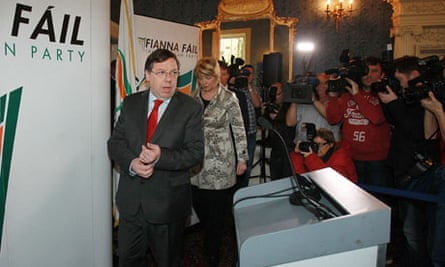 Brian Cowen at the Dublin press conference where he relinquished the Fiánna Fail party leadership