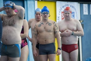 Cold water swimming: Swimmers wait to take part in the endurance race