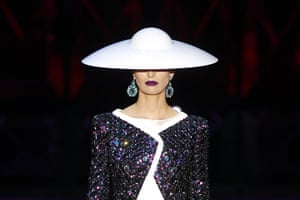 Paris Fashion Week: A model presents a creation by Italian designer Giorgio Armani
