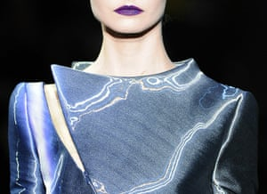 Paris Fashion Week: A model presents a creation by Giorgio Armani Prive