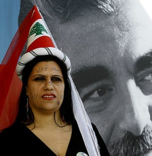 Lebanon Protests: A Lebanese supporter of the Future Movement