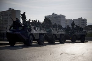 Lebanon Protests: Lebanese soldiers atop their armored vehicles