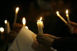 Lebanon Protests: Lebanese civilians take part in a candle light vigil
