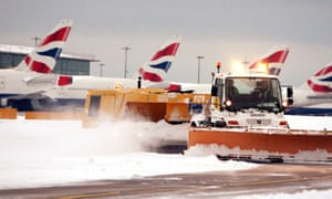 Heathrow airport in the snow last month.