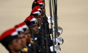 Sri Lankan cadets march at a ceremony for new army officers' graduation in Diyatalawa