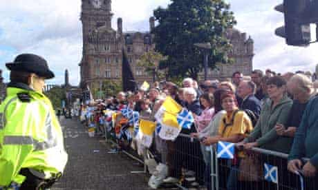 Police lined Princes Street during the Papal visit | pic: Michael MacLeod