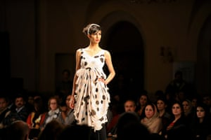 Islamabad Fashion Week: A Pakistani model presents a creation by Hameeda