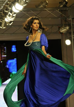 Islamabad Fashion Week: A Pakistani model presents a creation by Deeba and Zoa
