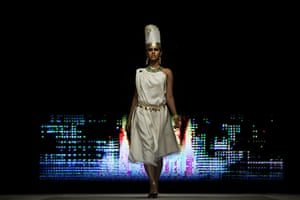 Islamabad Fashion Week: A model showcases designs by Shafaq Habib