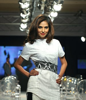 Islamabad Fashion Week: A Pakistani model presents a creation by Ammar Bilal