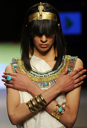 Islamabad Fashion Week: A Pakistani model presents a creation by Shafaq Habib