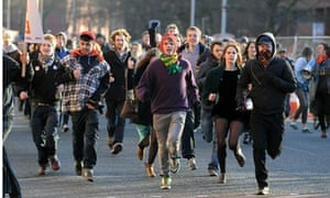 Student protesters in Manchester