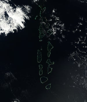 Satellite Eye on Earth:  atolls and islands of the Maldives Republic