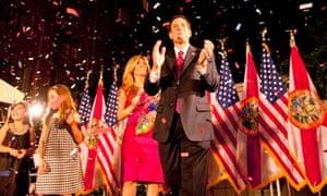 Republican senator Marco Rubio celebrates at his victory party in Coral Gables in Florida