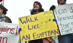 A demonstration in support of the Egyptian protests in Washington.