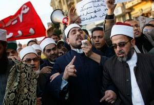 Egypt uprising: Islamic leaders chant slogans against Egyptian President Hosni Mubarak