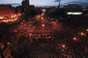 Egypt uprising: A huge crowd of anti-government protesters in Tahrir Square at nightfall