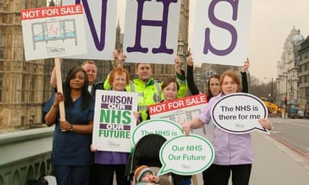 NHS staff at Westminster yesterday as MPs debated the health reforms