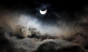 eclipse: A view of a partial solar eclipse Gaza city, Gaza