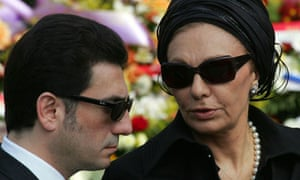 Alireza Pahlavi, left, with his mother, Farah