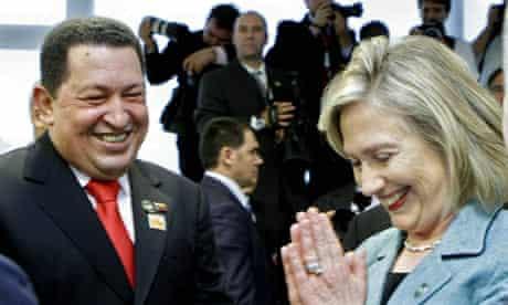 Hugo Chávez and Hillary Clinton during Brazilian president-elect Dilma Rousseff's inauguration