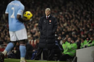 Arsenal v Manchester City: Arsene Wenger watches the match