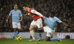 Arsenal v Manchester City: Koscielny grabs hold of Kolo Toure