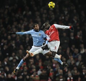 Arsenal v Manchester City: Jo and Sagna do battle in the air