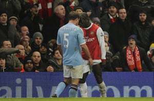 Arsenal v Manchester City: Zabaleta and Sagna clash heads on the touchline and get sent off