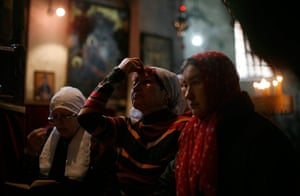 Orthodox Christmas: Russian pilgrims pray during Orthodox Christmas in Church of the Nativity