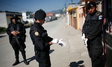 Police officers in Coban, Guatemala