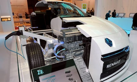 The workings of a Renault electric car, the Fluence ZE, on display at the Paris Auto Show in 2010