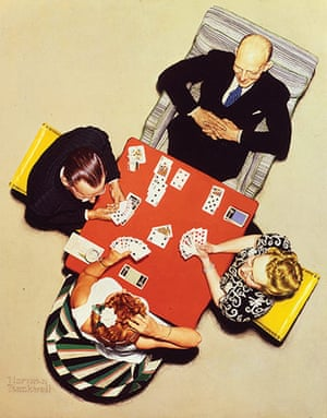 Norman Rockwell: Bridge Game - The Bid