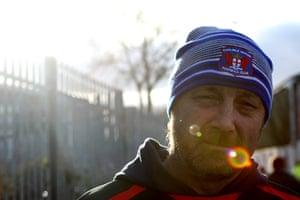 Torquay v Carlisle: A Carlisle fan arrives at Torquay's Plainmoor stadium