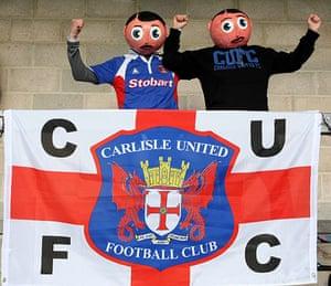 Torquay v Carlisle: Fans of Carlisle United, and Frank Sidebottom, cheer their team on