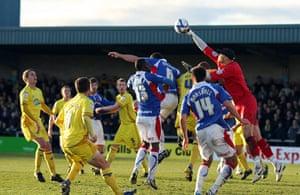 Torquay v Carlisle: Torquay United goalkeeper Scott Bevan punches the ball clear